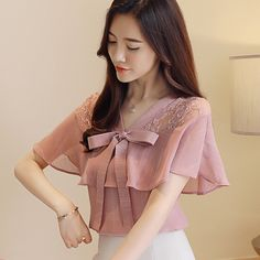 female chiffon shirt short sleeve bow tie trumpet sleeves V-neck lace patchwork see-through pink code 8852943 Dress With Cardigan, Blouse Dress, Abaya Fashion, Fashion Dresses, Kurta Neck Design, Sleeves Designs For Dresses, Kids Tops, Chiffon Shirt, Short Tops