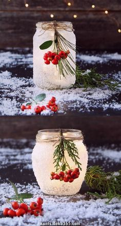 ✔ Christmas wedding centerpieces minutes of DIY snow frosted mason jar decorations {Magical!}Magical DIY snow frosted mason jar decorations: FREE beautiful Thanksgiving and Christmas Frosted Mason Jars, Painted Mason Jars, Glitter Mason Jars, Pot Mason Diy, Mason Jar Crafts, Mason Jar Christmas Crafts, Bottle Crafts, Diy Home Decor Projects, Diy Projects To Try