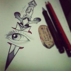 #juniormoraes #tattoo #tatuaje #eye #dagger #oldschool #pencil #drawn #drawing #illustration #disorder