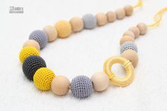 Nursing mom necklace/Teething Breastfeeding necklace in grey and yellow with wooden ring