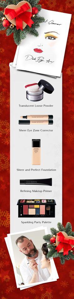 """""""Per il look natalizio ho voluto ricreare un fascino misterioso: makeup grafico per gli occhi, incorniciato da una linea di eyeliner e da una ricca ombreggiatura bruno-dorata, labbra rosse e molto chic"""". Dick Page #makeupartist http://www.shiseido.it/category/makeup-it/"""