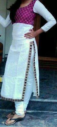 White kurtha; sashiko/kantha hand embroidery work n mirror work slit.. By me!!