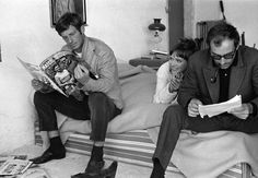 Jean-Paul Belmondo, Anna Karina and Director Jean-Luc Godard on the set of Pierrot, le fou, 1965