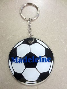 Personalized Round Acrylic Soccer Ball Keychain Personalized acrylic key chains make great gifts for any occasion; birthdays, teacher appreciation, graduation, wedding party gifts, holidays, stocking stuffers, sorority, sports, etc. Add to your child's diaper bag, backpack or use as a luggage tag. They also make a great treat for yourself!
