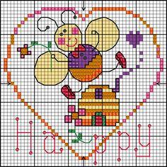 Bee Happy cross stitch chart