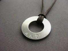 Men's Necklace with 2 custom initials Stamped by InformalElegance, $22.50