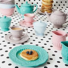 Good It us Always Tea Time Milk Jug Sky Blue Lily Rose Co