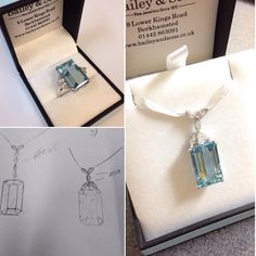 One of our customers wanted their stunning Aquamarine ring redesigned into a pendant. We had some designs drawn up and the customer had a unique and beautiful pendant made. Come in and one of our experts will be able to give you the best advice to redesign your jewellery. #platinum #diamond #emerald #tourmaline #sapphire #ruby #handmade #jewellery #diamondjewellery #aquamarine #berkhamsted #hertfordshire #london #europe #watch #luxury #england #engagementring #wedding #weddingring…