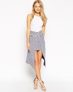 ASOS Midi Skirt With Wrap Front In Chevron Stripe at asos.com #skirt #women #covetme #midi #chevron #stripe #print #asos