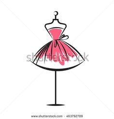 ball gown short mannequin hand drawing illustration on a white background