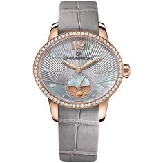 Girard-Perregaux Cat's Eye Day And Night Watch with Grey Alligator... ($31,600) ❤ liked on Polyvore featuring jewelry, watches, girard perregaux watches, rose gold watches, red gold jewelry, rose gold jewelry and engraved watches
