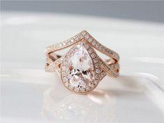 UNIQUE Wedding Ring Set 7x10mm Pear Cut Morganite Engagement Ring & Diamond Wedding Band Solid 14K Rose Gold Morganite Ring Set Bridal Ring by ByLaris on Etsy https://www.etsy.com/listing/502095704/unique-wedding-ring-set-7x10mm-pear-cut