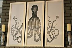 Buy or DIY: Large Framed Octopus Triptych   Apartment Therapy...