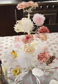 diy baby headband station at the shower, all guests can make their own personal headband for the baby!