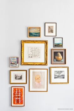Home Tour: A Legendary New York Townhouse via // gallery wall frame art gold New York Townhouse, Grey Wall Color, Eclectic Gallery Wall, Global Decor, Diy Décoration, Decoration Design, Decoration Crafts, Design Art, Decorations