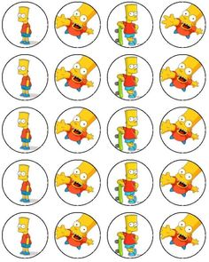 These Bart Simpson printables are awesome because you can glue or tape them on yellow cups!So that way there Simpson themed and easy to make at home! Bolo Simpsons, Simpsons Party, The Simpsons, 11th Birthday, Birthday Parties, Bart Simpson, Bart Carts, Bottle Cap Projects, Mermaid Wallpapers