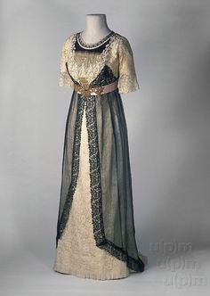 fripperiesandfobs: Evening dress ca. 1910 From the Museum of... - Ladies Fashions - La Belle Époque!