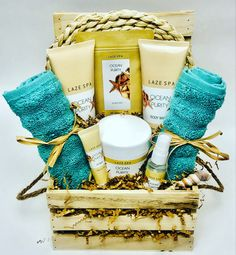 This luxurious basket is filled with body wash, lotion & spray, bath salts, lip balm with 2 spa wash cloths Spa Gifts, Bath Salts, Corporate Gifts, Washing Clothes, Body Wash, Gift Baskets, Customized Gifts, Lip Balm, Towels