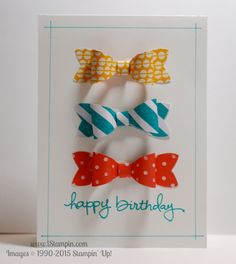 This adorable happy birthday bow card uses the brand new Bow Builder Punch from Stampin' Up! Visit www.istampin.com to learn more. #SU #istampin #stampinup #SAB #bowbuilderpunch #Occasions