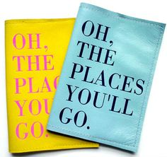 This Oh The Places You'll Go Passport Cover  in leather comes in a wide variety of colors.  Ideal for  personalized travel gift,  custom graduation gift, study abroad gift or birthday gift for a jet setting Dr Seuss fan.