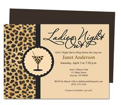 Bachelorette Party Invitaitons Templates : Leopard Design Bachelorette Party Invitation Template