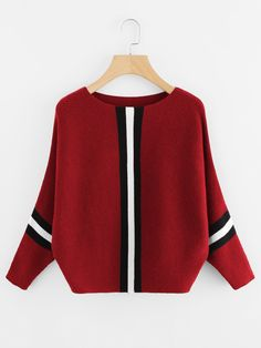 Contrast Striped Panel Ribbed Sweater 4a1fab930