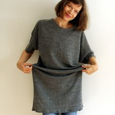 HELLIN Merino wool sweatshirt Tunic Dress