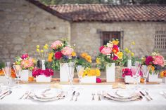 Color-happy #tablescape   Photography: thisloveofyours.com   Design: engagedandinspired.com   Florals: huckleberrykarendesigns.com