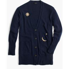 J.Crew Cardigan Sweater With Cosmic Embroidery ($97) ❤ liked on Polyvore featuring tops, sweaters, cardigan top, galaxy top, blue top, j crew tops and j crew cardigan