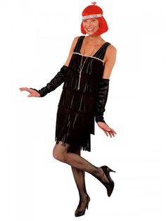 f9c1595a953 Déguisement Charleston noir femme avec gants. Deguisetoi.fr
