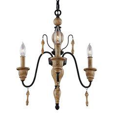 Murray Feiss F2972/3 Matrimonio 3 Light 1 Tier Chandelier Driftwood / Dark Weathered Zinc Indoor Lighting Chandeliers