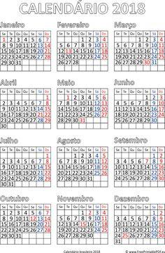 Calendário de impressão brasileiro 2018 pdf