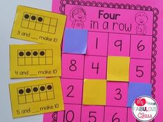 Unit 1 - Making 5 and 10 FREEBIE. Four in a Row game to practice sums of 5 and sums of Math Classroom, Kindergarten Math, Teaching Math, Classroom Ideas, Kindergarten Addition, Teaching Tools, Preschool, Math Stations, Math Centers