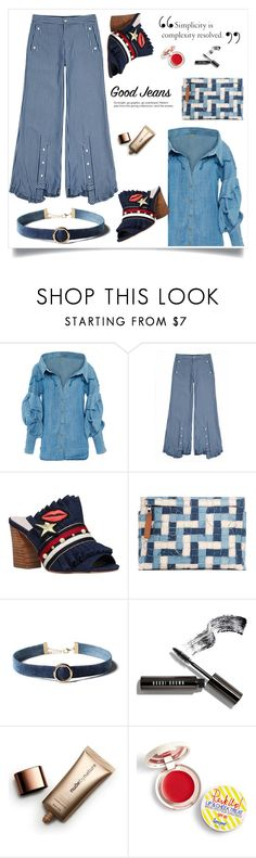 """Denim-on-Denim"" by cheetakat12 on Polyvore featuring Johanna Ortiz, Jamie Wei Huang, KG Kurt Geiger, Loewe, WithChic, Bobbi Brown Cosmetics, Nude by Nature, Supergoop! and alldenim"