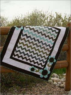 Cute Chevron baby quilt w border.