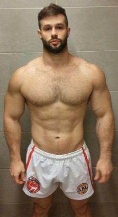 Boys abs bara barefoot biceps brown hair crossover cum