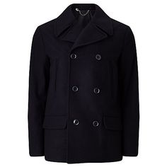 Buy Kin Wool Blend Peacoat, Navy from our Men's Coats & Jackets range at John Lewis & Partners. Latest Mens Fashion, Fashion Online, Stylish Coat, New Outfits, Double Breasted, Wool Blend, Menswear, Navy Online, Winter Coats