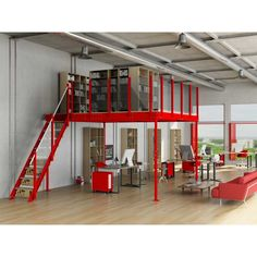 TM 15 Mezzanine with M straight stairs Garage House, Garage Loft, Garage Workshop, Garage Shop, Garage Shelving, Diy Garage, Warehouse Office, Warehouse Living, Warehouse Design
