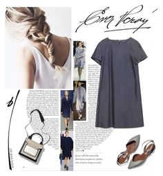 zara flowing denim dress by aanyaa on Polyvore featuring polyvore fashion style Zara clothing