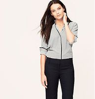 Petite Grid Dot Piped Blouse - Intricately patterned, a go-with-the-flow silhouette is outlined in contrast piping, for a refined finish. Collared. Long sleeves. Covered button front. Button cuffs. Back yoke with loop. Shirttail hem.
