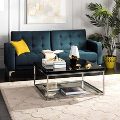 Make your living space shine with the Safavieh Malone Chrome High Gloss Coffee Table . The frame of this contemporary coffee table is fabricated out. Coffee Table With Shelf, Stylish Coffee Table, Black Coffee Tables, Floor Shelf, Contemporary Coffee Table, Contemporary Style, Sofa End Tables, Black Furniture, Furniture Deals