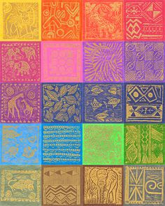 South African Gold Metallic Stamped Hand-Dyes - Swatch Packet-Quilt Fabrics from www.eQuilter.com
