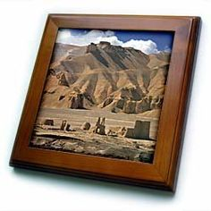 """Afghanistan, Bamian Valley, Ancient Architecture-AS01 RER0012 - Ric Ergenbright - 8x8 Framed Tile by 3dRose. $22.99. Dimensions: 8"""" H x 8"""" W x 1/2"""" D. Inset high gloss 6"""" x 6"""" ceramic tile.. Keyhole in the back of frame allows for easy hanging.. Cherry Finish. Solid wood frame. Afghanistan, Bamian Valley, Ancient Architecture-AS01 RER0012 - Ric Ergenbright Framed Tile is 8"""" x 8"""" with a 6"""" x 6"""" high gloss inset ceramic tile, surrounded by a solid wood frame with pre-drilled ..."""