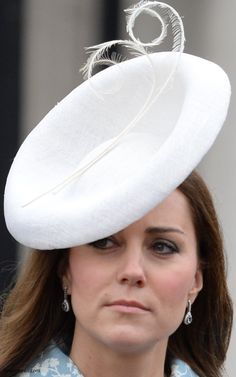 The Duchess of Cambridge for Trooping the Colour... Check out her beautiful aquamarine earrings! www.diamonds.pro