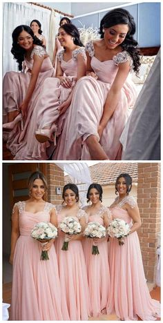 Delicate Chiffon V-neck Neckline A-line Bridesmaid Dresses With Beaded Appliques Blush Pink Bridesmaids, Bridesmaid Dress Colors, Modest Bridesmaid Dresses, Wedding Bridesmaids, Wedding Gowns, Bridal Hair Buns, Maid Of Honour Dresses, Wedding Colors, Beautiful Dresses