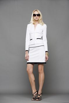 White suit with black profiles ‪#‎EnricoCoveri‬ Spring/Summer 2016
