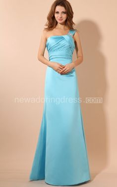 Maxi Asymmetrical One-Shoulder Dress With Ruching And Broach