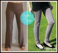 meggipeg: Refashion baggy yoga pants into svelte leggings tutorial