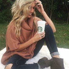 I love the cut (especially the short sleeves with the oversizedness) of this sweater AND the color