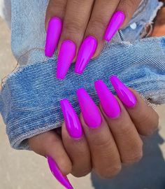 Top 50 Gel Nails 2019 To Try Them - Reny styles Gel Nails It is not a secret to anyone that gel manicure has been trending for a minute currently. it's true that there area unit several advantages. Bright Nails, Neon Nails, Bright Summer Acrylic Nails, Bright Colored Nails, Purple Acrylic Nails, Bright Summer Nails, Perfect Nails, Gorgeous Nails, Amazing Nails